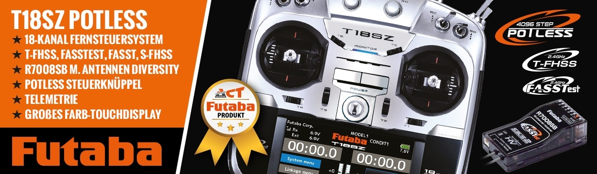 FUTABA T18SZ Potless V3 2.4GHz + R7008SB M2