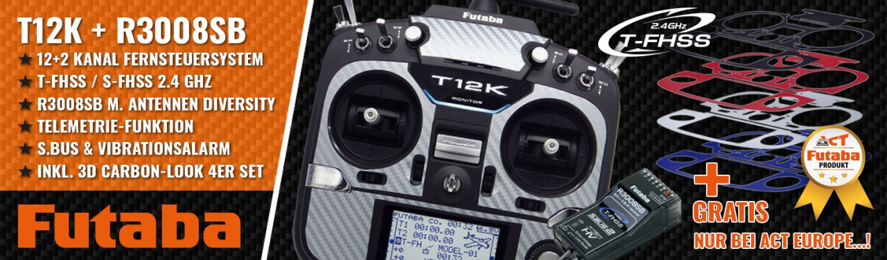 FUTABA T12K 2.4GHz + R3008SB M1 + 3D Carbon-Look 4er Set