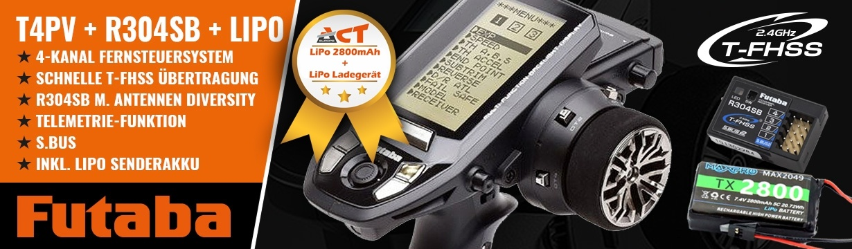 FUTABA T4PV 2.4GHz + R304SB + LiPo 2800mAh + LiPo Lader