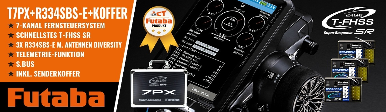 FUTABA T7PX 2.4GHz + 3x R334SBS-E + Senderkoffer T7PX