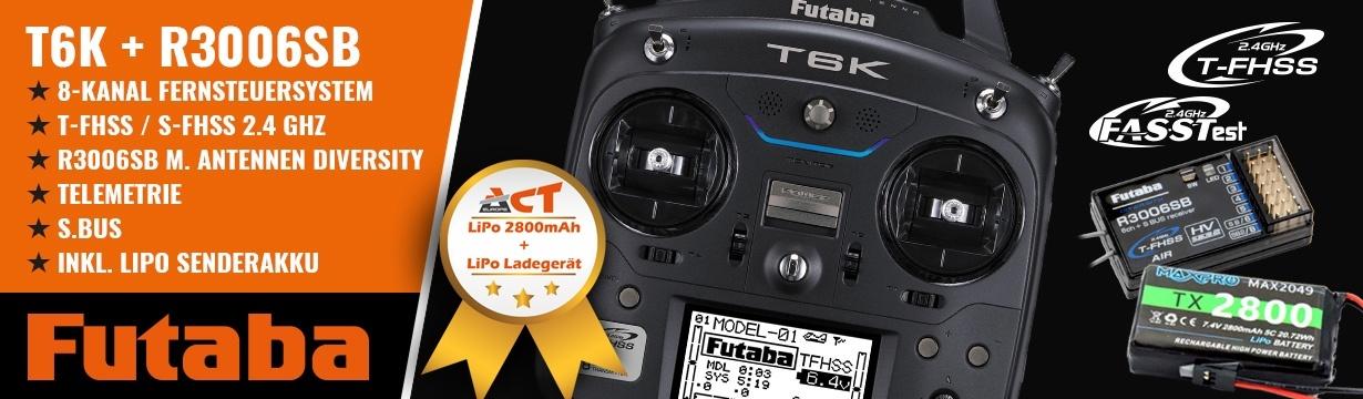 FUTABA T6K V2.0 8-K. 2.4GHz T-FHSS+R3006SB M2 + LiPo 2800mAh