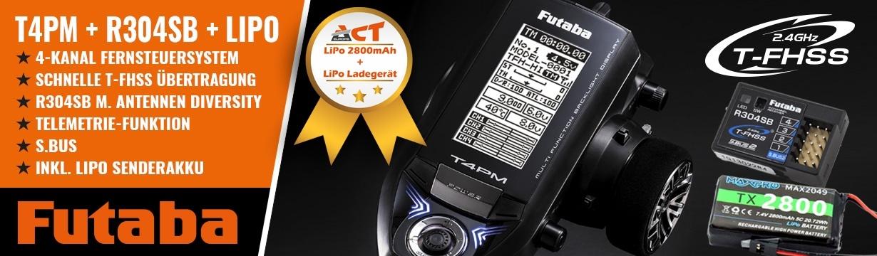 FUTABA T4PM 2.4GHz T-FHSS + R304SB + LiPo 2800mAh + Lader