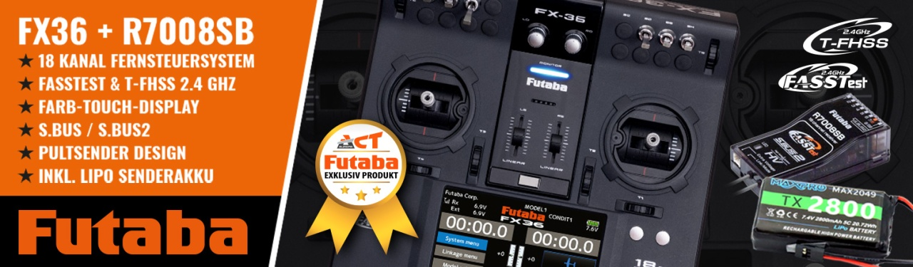 FUTABA FX36 +R7008SB 2.4GHz FASSTest +LiPo 2800mA