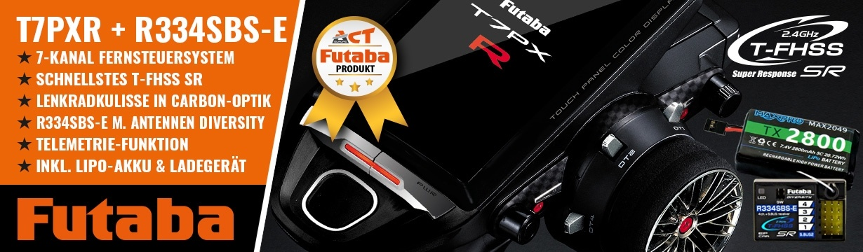 FUTABA T7PXR 2.4GHz + R334SBS-E+LiPo 2800mAh + Lader