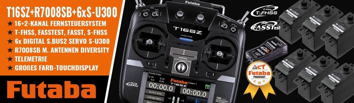 FUTABA T16SZ 2.4GHz + R7008SB + 6xS-U300 M1